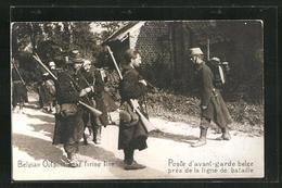 AK Belgian Outpost Near Frieing Line, Belgische Soldaten In Uniformen Mit Gewehren - Zonder Classificatie