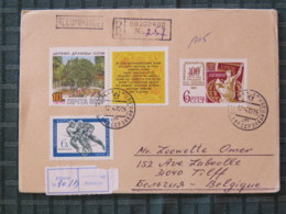 Ukraine (USSR) 1970 Registered Cover Oujgorod To Belgium - Sport Ice Hockey - Tree - Lenin Book - Cartas