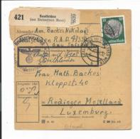 DR  525 EF - 50 Pf Hindenburg Med. Paketkarte Von Saalfelden Am Steinernen Meer Nach Luxemburg - Storia Postale