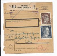 DR  798 MiF - 90 Pf Paketkarte  Von Marburg/Drau Nach  Cilli (Ostmark) - Germany