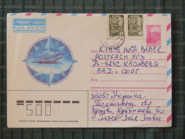 Ukraine (USSR) 1989 Stationery Cover To Germany - Medals - Plane - 1923-1991 URSS