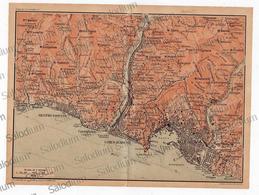 1910 - SESTRI PONENTE CORNIGLIANO S.PIER D'ARENA GENOVA - Mappa Cartina - Mappe