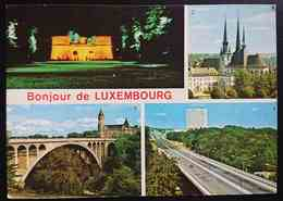LUXEMBOURG - MULTIVIEW - Trois Glands, Cathédrale Notre-Dame, Pont Adolphe, Pont Grande Duchesse Charlotte -- Vg - Cartoline