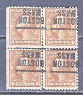 U.S. 503 X 4   Perf. 11  *   MASS.  1917-19 Issue - Precancels