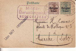 NEUFCHATEAU -1916- Entier Postal Et Timbre - Cachet Bureau De Surveillance Militaire - - German Occupation