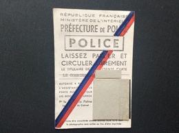 CARTE PREFECTURE DE POLICE Laisser Passer Et Circuler ANNÉE 1956 - Police & Gendarmerie