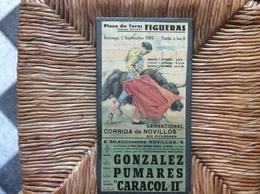 PLAQUE CARTON CORRIDA Plaza De Toros FIGUERAS *Isaias Gonzalez *Paco Pumares *Fernandez Caracol LI  SEPTEMBRE 1969 - Plaques En Carton