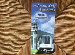 PLAN MÉTRO RATP Antony-Orly  ORLY VAL  Année 2016 - Europe