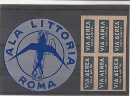 Italy / Airmail Vignettes / Ala Littoria / Printing Errors - Italia