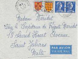1958- Lettre PAR AVION Pour Malte Affr. à 43 Frs - 1921-1960: Moderne