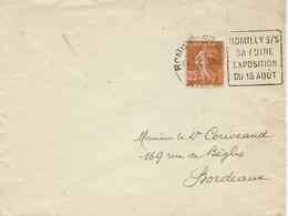 """1937- Env. Ouverte Affr. 25 C Semeuse Oblit. DAGUIN """" ROMILLY S/ S / SA FOIRE / EXPOSITION / DU 15 AOUT """" - Storia Postale"""