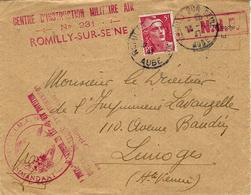 "1947- Env. Affr. 3 F Gandon "" CENTRE D'INSTRUCTION MILITAIRE AIR / N°231 / ROMILLY-sur-SEINE - 1921-1960: Periodo Moderno"