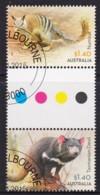 Australia 2015 Wildlife $1.40 Numbat & Tasmanian Devil Gutter Pair CTO - 2010-... Elizabeth II