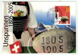 """Suisse // Schweiz // Carte Maximum //  1 Carte Maximum La Pierre """"Unspunnen"""" 2005 - Maximumkarten (MC)"""