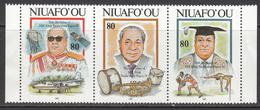 1993 Tonga Niuafo'ou King Coronation Rugby Aviation Musical Instruments  Strip Of 3  MNH - Tonga (1970-...)