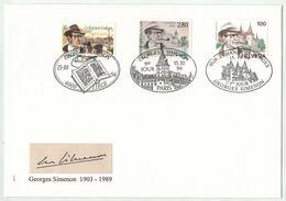 Suisse // Schweiz // FDC // 1994 //  Georges Simenon, Combiné Suisse-France-Belgique No. 871 - FDC