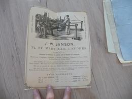Pub Présentation  Tarif Londres J.W.Janson Machines Pour La Tannerie Peaux Mal Découpée - Royaume-Uni