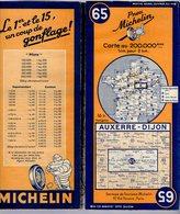 Carte Géographique MICHELIN - N° 065 - AUXERRE - DIJON 1946-2 (vente En Belgique) - Cartes Routières