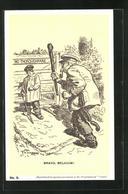 CPA Illustrateur Bravo Belgium!, Belgischer Knabe Verwehrt Kaiser Wilhelm II. Den Eintritt - Familles Royales