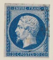 FRANCE: Napoléon III ND, 20c. Bleu Foncé   (Y&T 14Aa) Belles Marges Variété Papier Mince - 1853-1860 Napoléon III.
