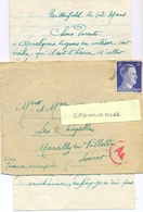 GUERRE 39-45 LETTRE D'un STO Au LAGER MARIE BITTERFELD Du 10.7.43 Avec Courrier + GRIFFE LINEAIRE MARCILLY (LOIRET) - Marcophilie (Lettres)