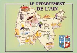 CPM - Carte Géographique - France  Département  01 Ain - Landkarten
