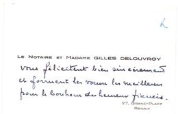 Visitekaartje - Carte Visite - Le Notaire Et Madame Gilles Delouvroy - Renaix - Visiting Cards
