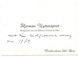 Visitekaartje - Carte Visite - Hoogleraar Universiteit Gent - Herman Uyttersprot - Cartoncini Da Visita