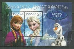 POLAND MNH ** Bloc 231 Monde Magique De Disney La Reine Elsa D'Adendelle Des Neiges Princesse Anna - Blocs & Feuillets