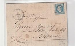 """Lettre Avec Classiques De France: Napoléon N°22 Avec Cachet Perlé """"Abilly"""" Indre Et Loire , 1869 - 1863-1870 Napoleone III Con Gli Allori"""