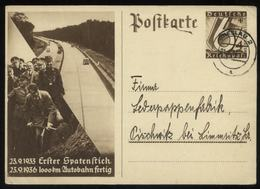 WW II WHW GS Postkarte Adolf Hitler , Autobahnbau: Gebraucht Breslau - Pischwitz 1937 , Bedarfserhaltung Mit Text. - Briefe U. Dokumente