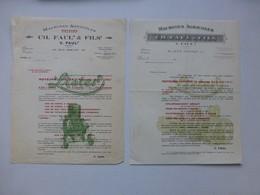 """Moteurs """"Lister"""" 1927, Machines Agricoles FAUL, Lot De 2 PUBS   Ref 596 ; PAP06 - Frankreich"""