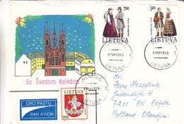 Lituanie - Lettre De 1992 - Oblit Vilnius - Armoiries - Costumes - Litauen