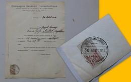 BORDEAUX 1918, Compagnie Générale Transatlantique, Beau Cachet, Ref 603 ; PAP06 - Frankreich