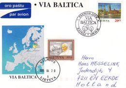 Papes - Lituanie - Lettre De 1995 - Oblit Vilnius - Pape Jean Paul II - Vue De Kaunas - Lithuania