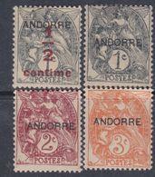 """Andorre N° 1 / 4 X Timbres De France Surchargés """"Andorre"""", Partie De Série Les 4 Valeurs Trace De Charnière Sinon TB - Andorre Français"""
