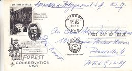 Etats Unis - Lettre Militaire De 1958 - Oblit Tucson - Exp Vers Bruxelles - Ours - Garde Forestier - Etats-Unis