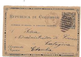 Pan076 / PANAMA - Rückantwortteil 1894 Von Colon Nach Cartagena - Panama