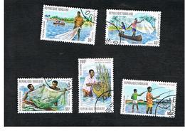 TOGO  - SG 1008.1012  -   1974  LAGOON FISHING  (C0MPLET SET OF 5)  - USED ° - Togo (1960-...)