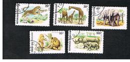 TOGO  - SG 1036.1040  -   1974  WILD ANIMALS  (COMPLET SET OF 5)  - USED ° - Togo (1960-...)