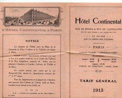 Paris : Livret HOTEL CONTINENTAL  Tarf Général 1913  (PPP20021) - Advertising