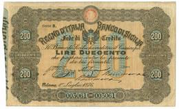 200 LIRE BANCO DI SICILIA FEDE DI CREDITO 01/07/1876 QBB - Altri