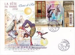 Fête Du Timbre 2014 Enveloppe Souvenir 1er Jour De L'émission Du Timbre (Conflans Sainte Honorine) - Autres