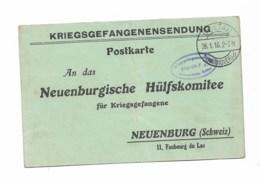 NEUENBURG  1916  Abonnement De Pain  Comité Neuchatelois De Secours Aux Prisonniers SOLTAU - Soldaten Briefmarken