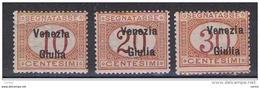VENEZIA  GIULIA:  1918  TASSE  SOPRASTAMPATI  -  3  VAL. L. -  SASS. 2/4 - 8. WW I Occupation
