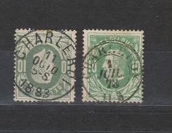 COB 30 Oblitération Simple Et Double Cercle CHARLEROI - 1869-1883 Léopold II