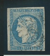 FRANCE: Obl., N° 44A, T I, Rep.1, Bleu, Signé Calves, B/TB - 1870 Emission De Bordeaux