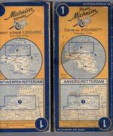 Carte Géographique MICHELIN - N° 001 ANVERS - ROTTERDAM 1952 - Wegenkaarten