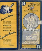 Carte Géographique MICHELIN - N° 051 BOULOGNE - LILLE - 1951 - Strassenkarten