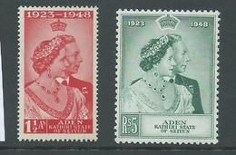 Aden Kathiri State Seiyun 1949 KGVI Silver Wedding Set 2 MLH - Aden (1854-1963)